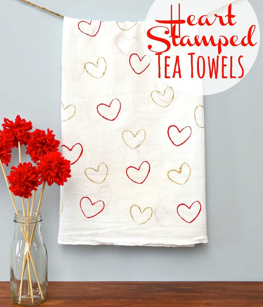 Heart Stamped Tea Towels