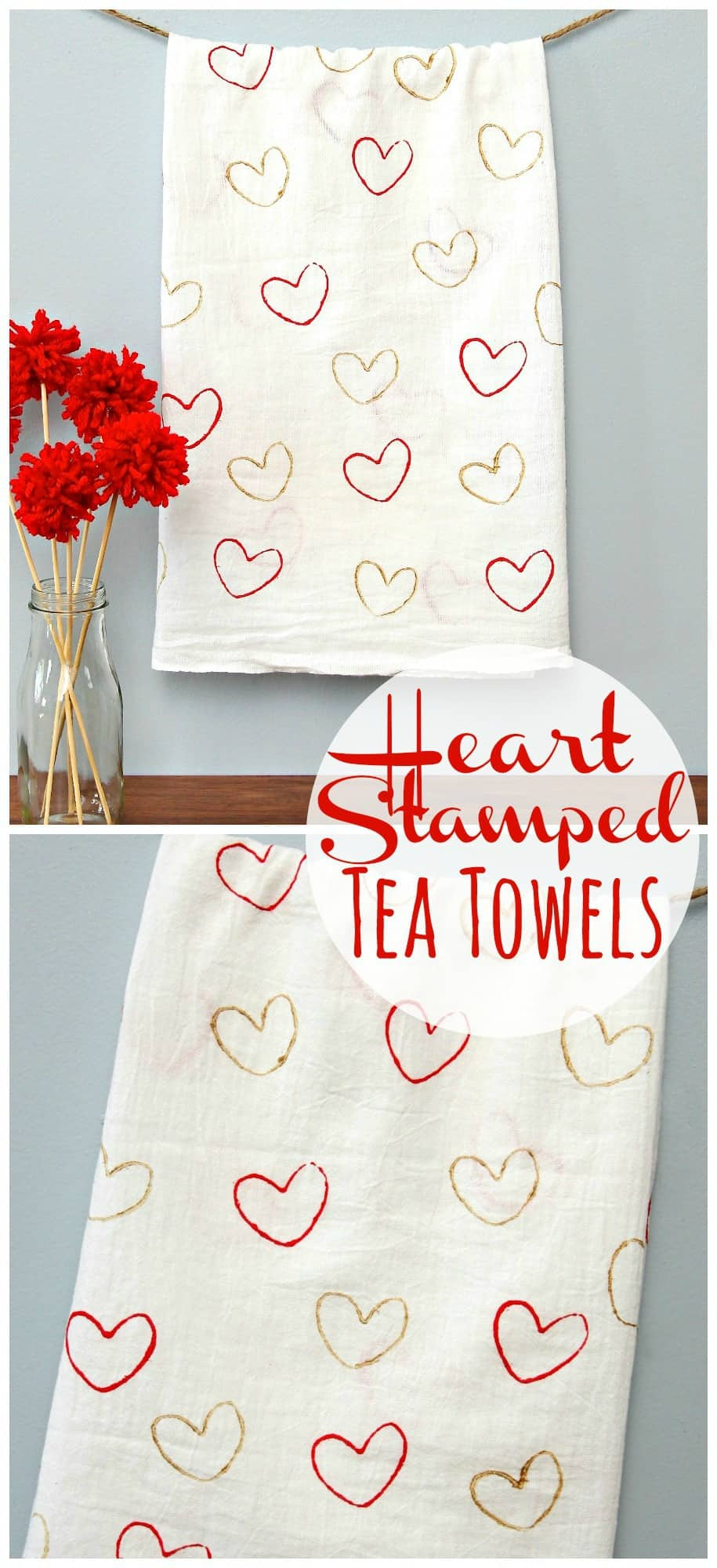 Heart Stamped Tea Towels Pinterest