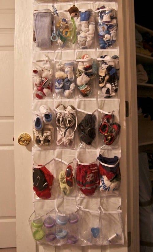 Organize Baby Stuff with Shoe Organizer