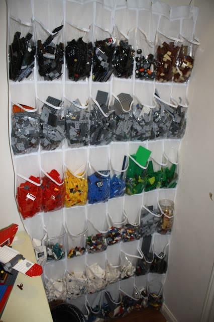 Organize Lego Pieces with a Shoe Organizer