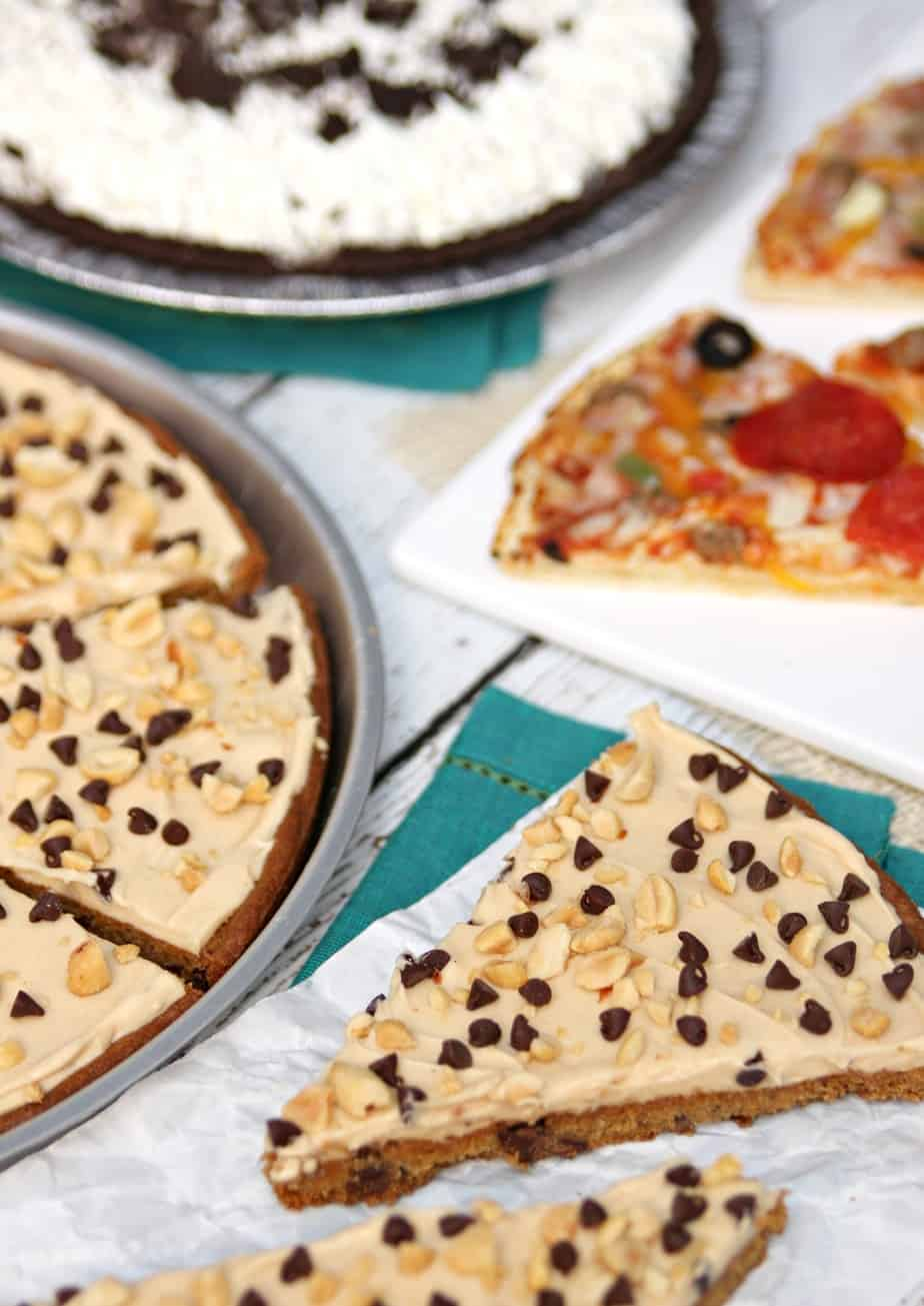 Chocolate Peanut Butter Cookie Pizza - Happy-Go-Lucky
