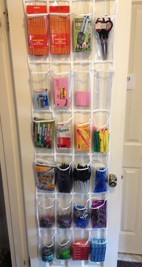 Organizing office supplies with a shoe organizer