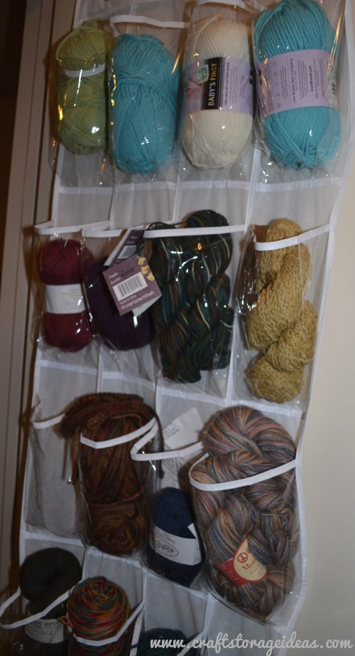 Organize yarn in a shoe organizer