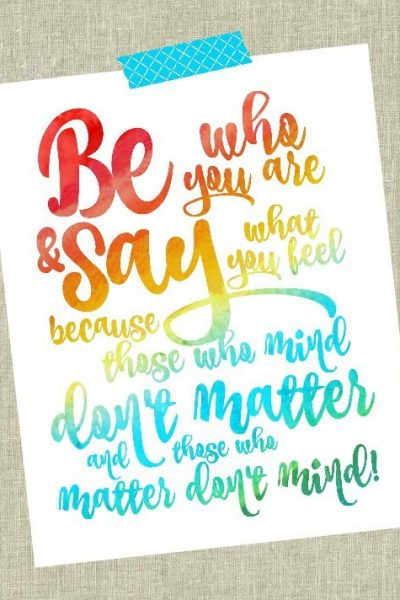 Be who you are Dr. Seuss Free Printable