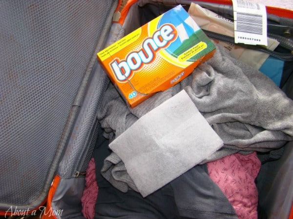 fabric softener sheet in suitcase