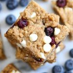 Blueberry White Chocolate Chip Oatmeal Cookie Bars