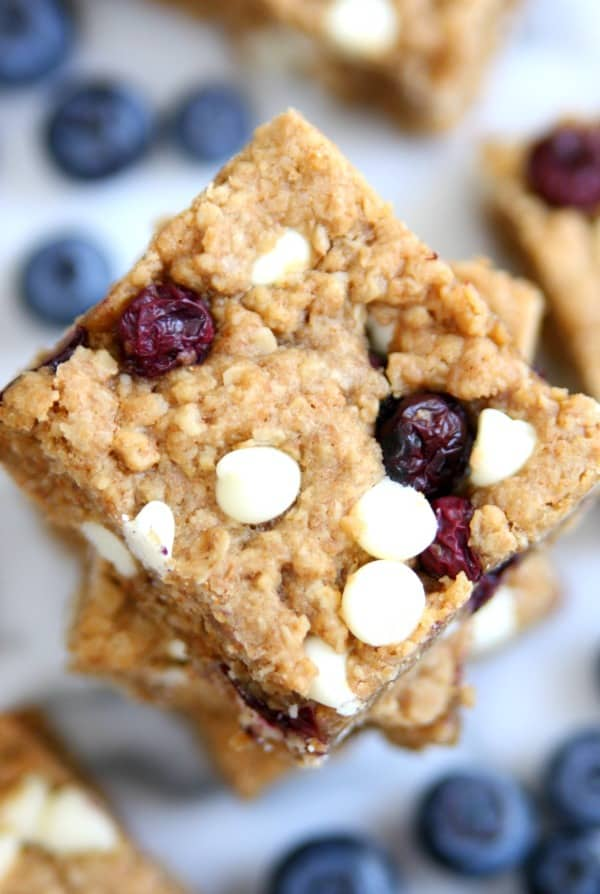 Blueberry White Chocolate Chip Oatmeal Bars