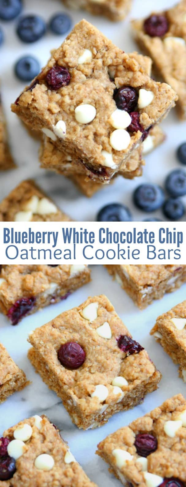 Blueberry White Chocolate Chip Oatmeal Cookie Bars - Happy ...