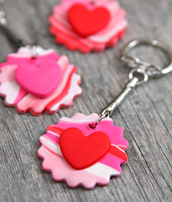 Marbled Clay Heart Keychains