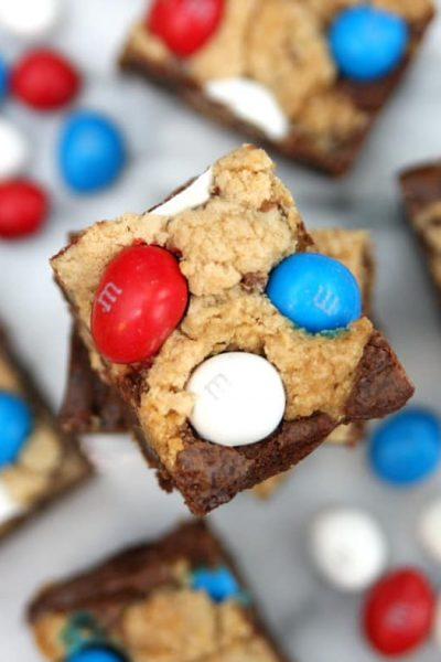 Red, White, Blue Brookie Bars
