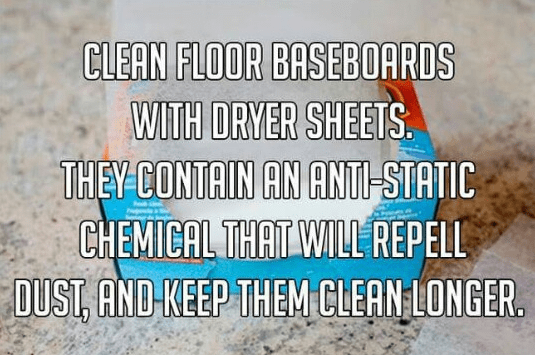 dryer sheets to clean baseboards