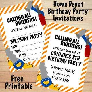 Home Depot Birthday Invitations