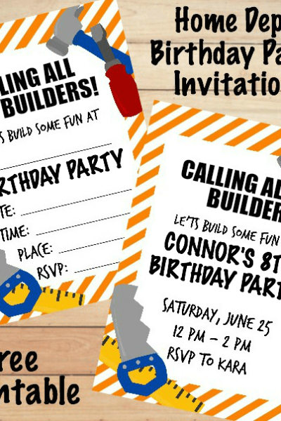 Home Depot Birthday Invitations