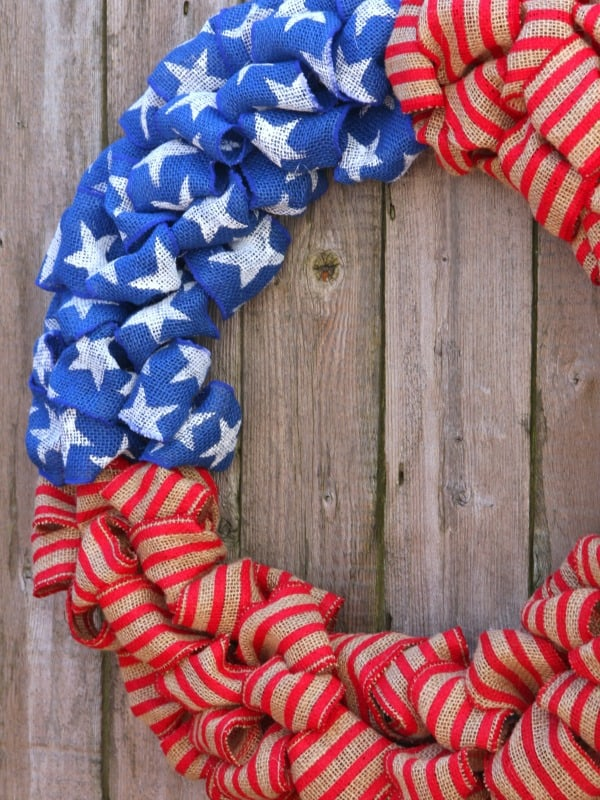 Patriotic Burlap Bubble Wreath