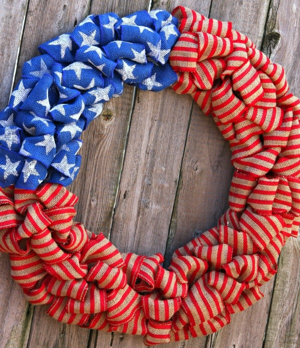 Red White Blue Burlap Bubble Wreath