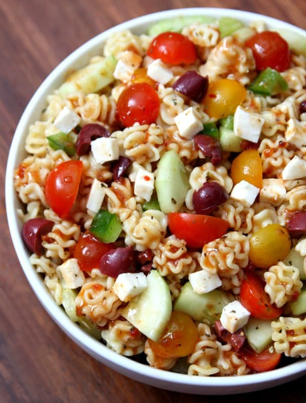 Sun Dried Tomato Pasta in large bowl. Summer side dish for cookouts and BBQ.