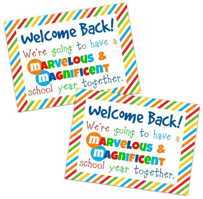 Student Welcome Gift Free Printable