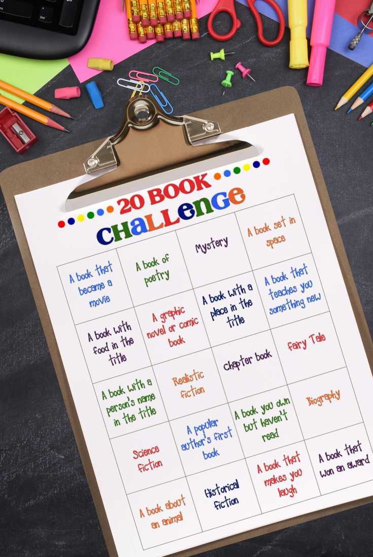 Download the 20 Book challenge free printable and have fun reading!