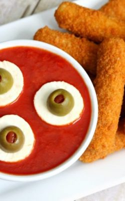 Eyeball Dipping Sauce Halloween Appetizer