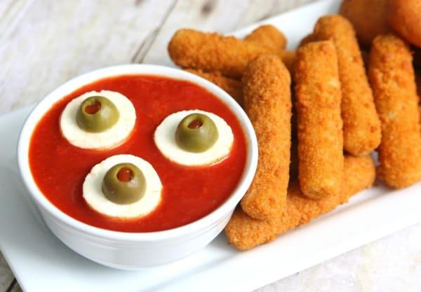 Eyeball Dipping Sauce Halloween Appetizer