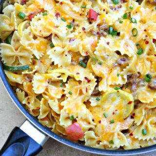 One Pot Cheesy Sausage Pasta Skillet