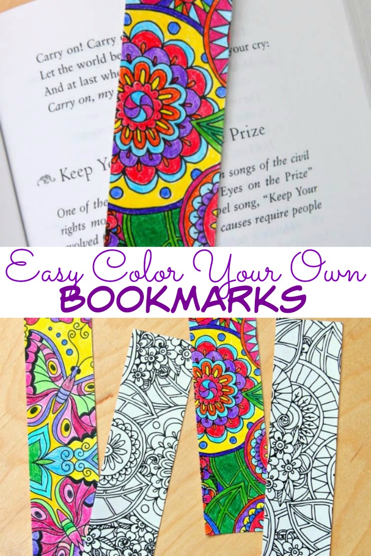 Color Your Own Bookmarks is the perfect activity to keep kids busy and they'll have a beautiful bookmark to use.
