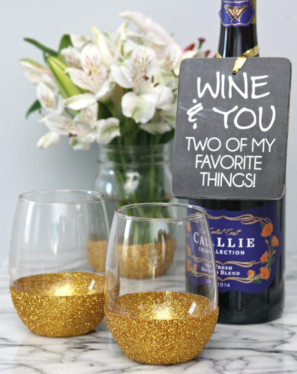 Glitter Dipped Wine Glasses and Wine Bottle Gift Tags