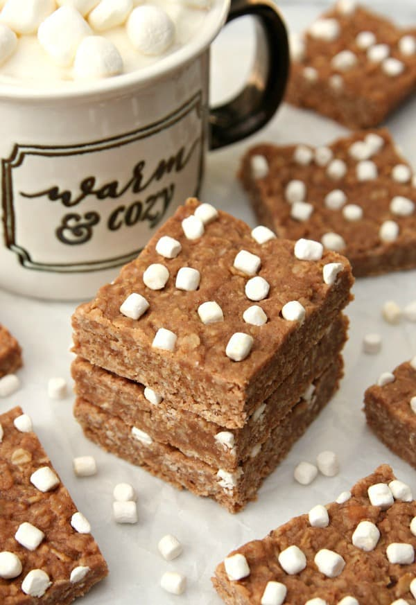No Bake Hot Chocolate Cookie Bars