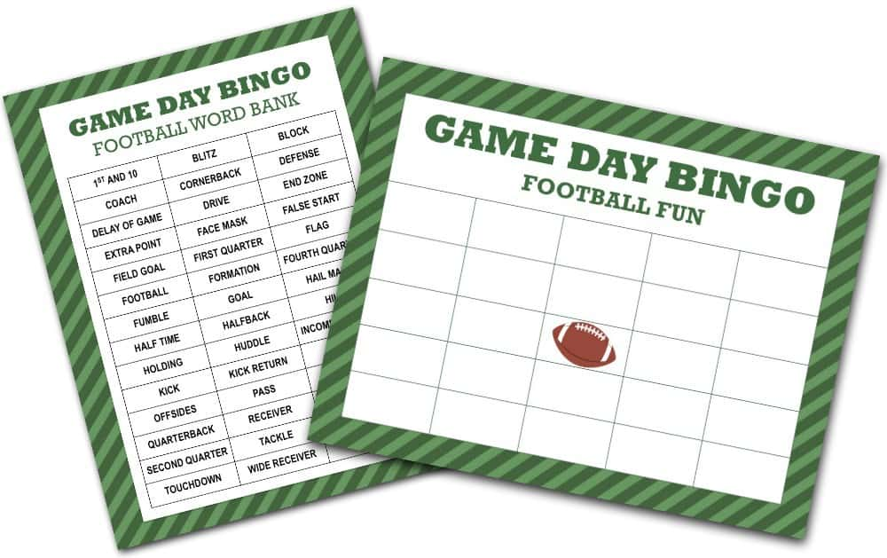 Football Bingo Free Printables