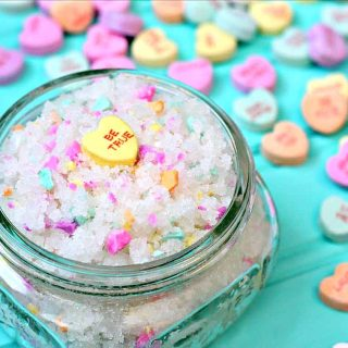 Sweethearts Sugar Scrub - Valentine's Day Sugar Scrub made with Sweethearts candy in a mason jar.
