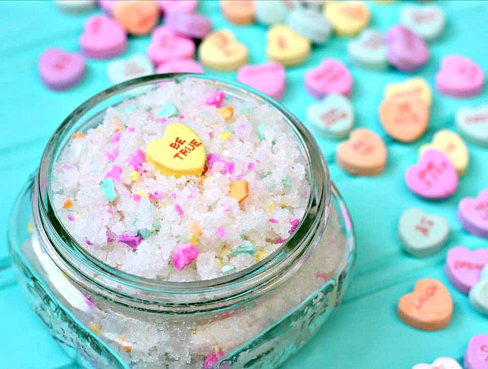 Sweethearts Sugar Scrub - Valentine's Day Sugar Scrub made with Sweethearts candy in a mason jar.