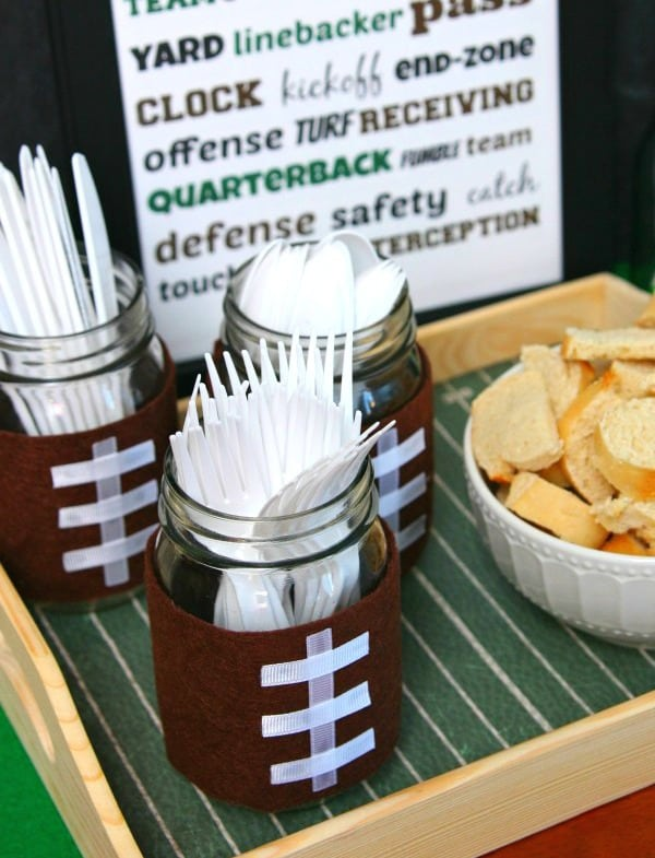 football-mason-jar-utensil-holders