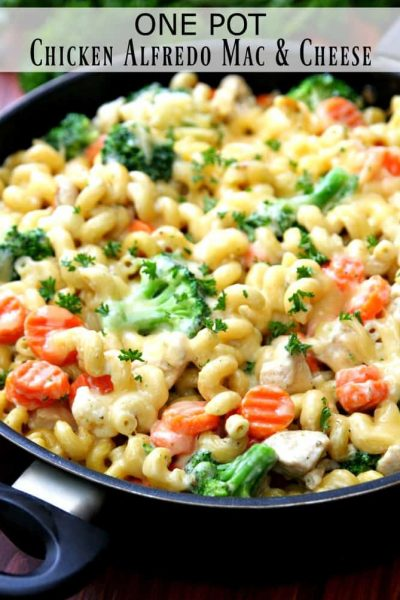 One Pot Chicken Alfredo Mac and Cheese