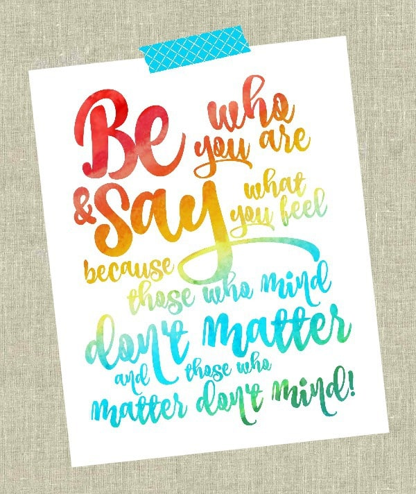 Great Be who you are Dr Seuss Free Printable