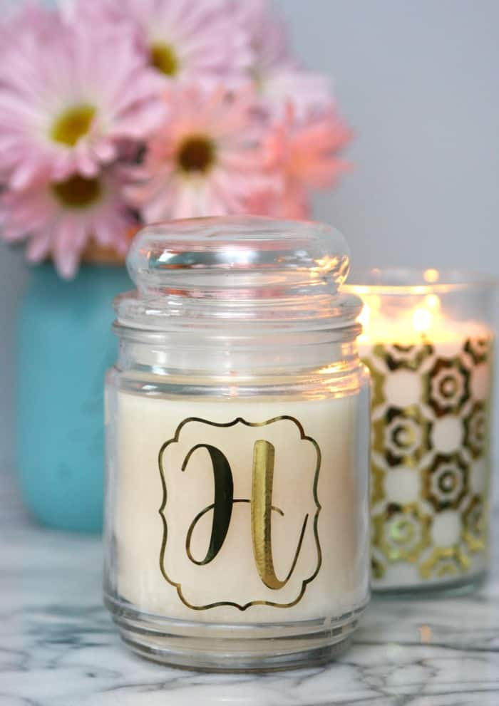 Gold Vinyl Decorated Candles 4