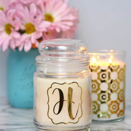 Gold Vinyl Decorated Candles