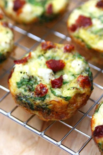 Spinach, Feta and Sun-Dried Tomato Egg Muffin Cups
