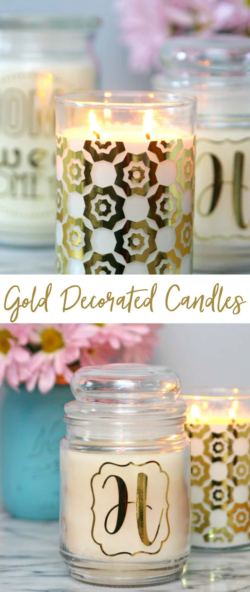 gold decorated candles pinterest