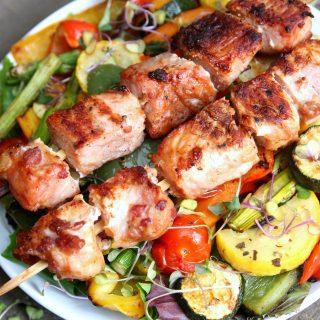 Grilled Vegetable Salad with Pork Kabobs