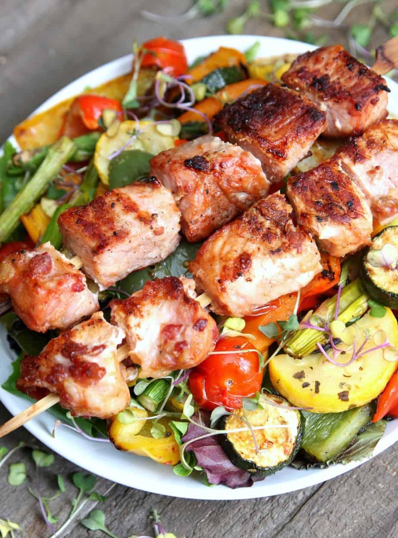 Grilled Vegetable Salad with Pork Kabobs-2