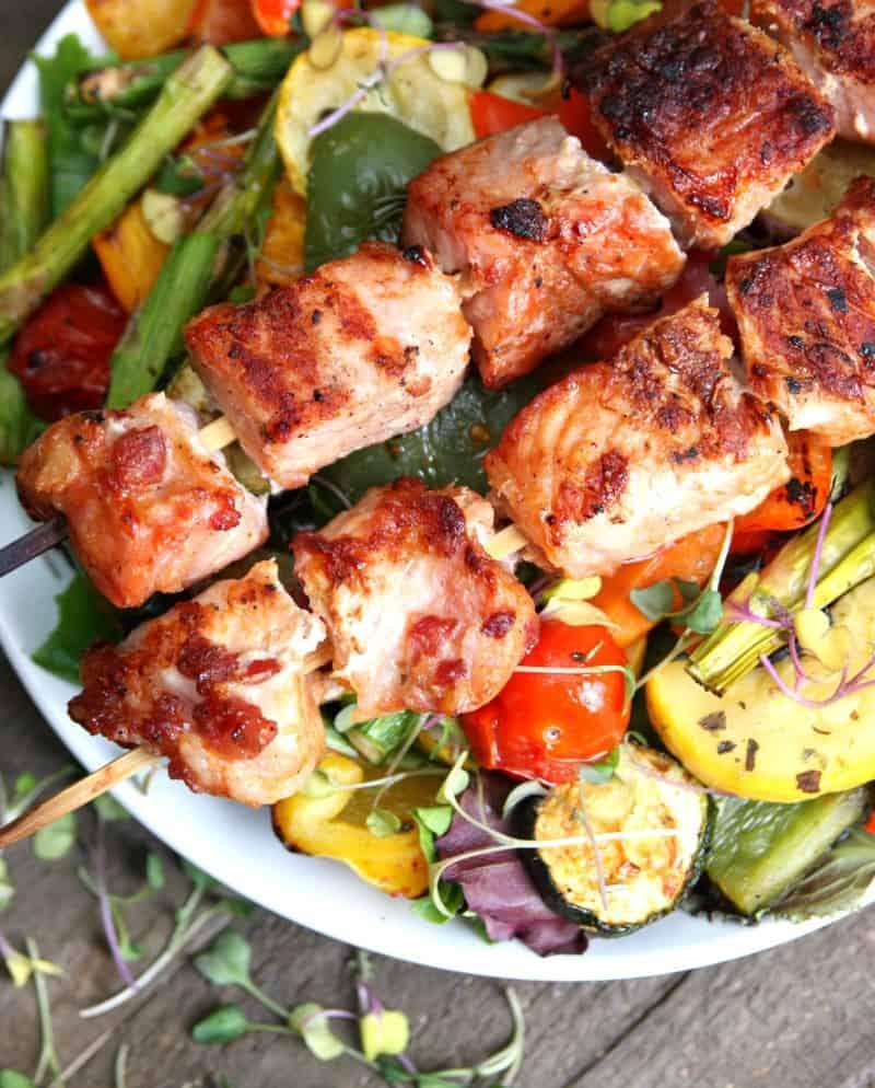 Grilled Vegetable Salad with Pork Kabobs-3