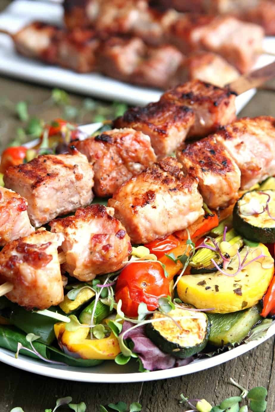 Grilled Vegetable Salad with Pork Kabobs - Happy-Go-Lucky
