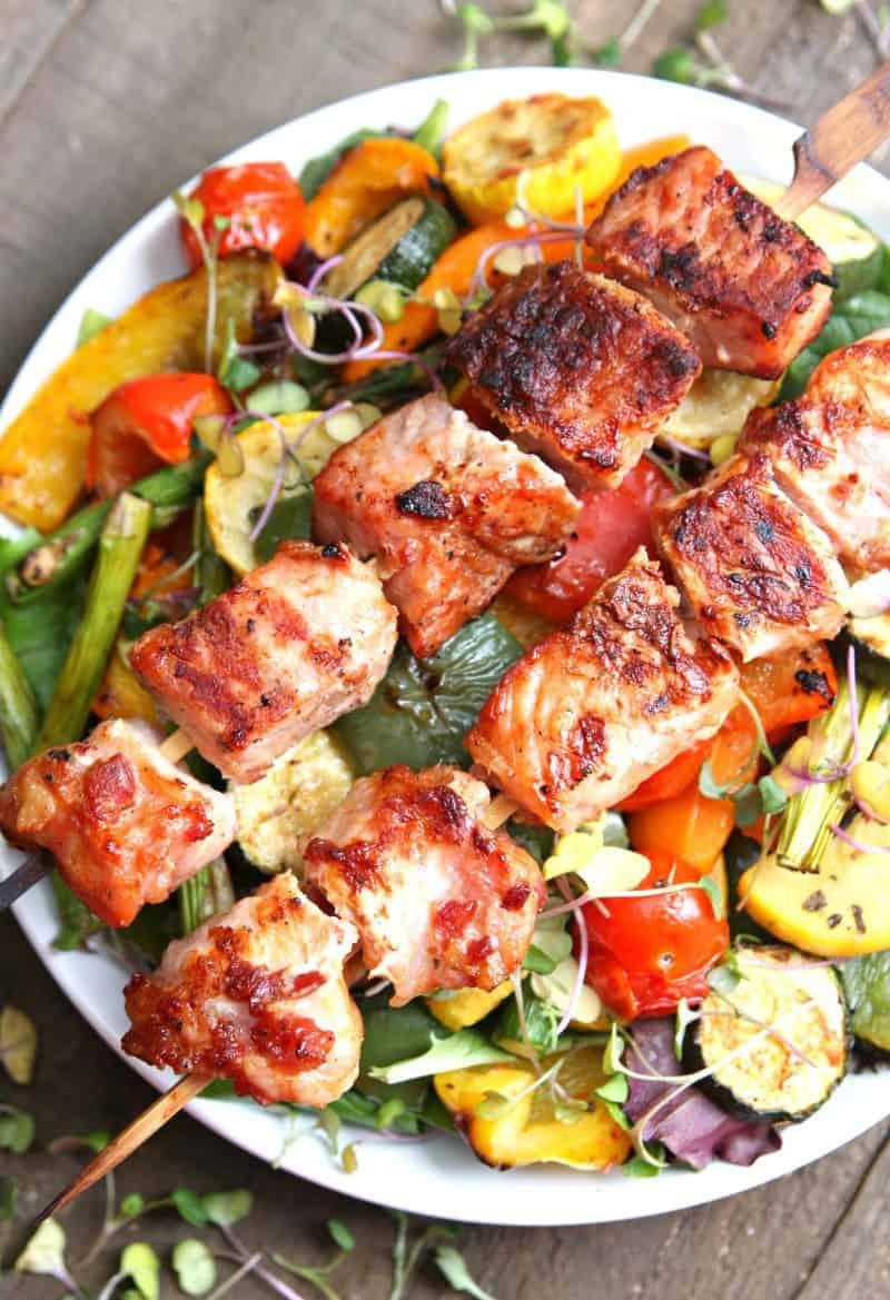 Grilled Vegetable Salad with Pork Kabobs 4