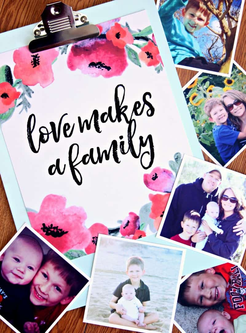 Love makes a family Free Printable