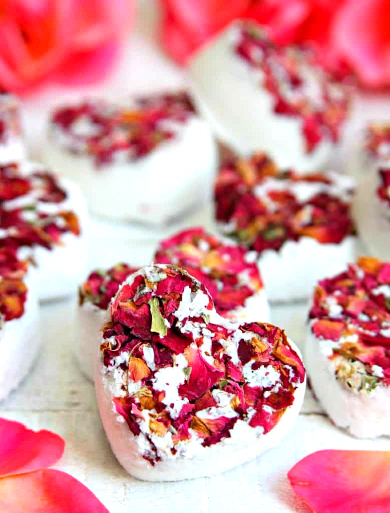 Heart Rose Bath Bombs A fun bath bomb made with dried roses and essential oil made in a heart mold.