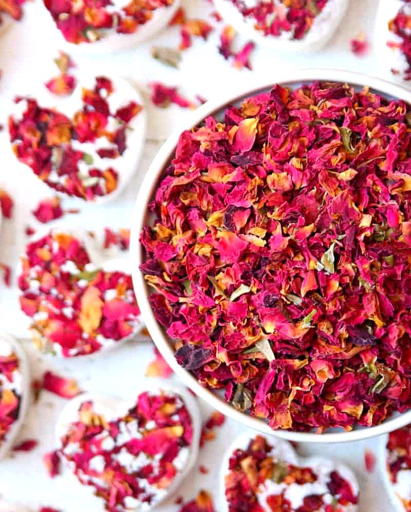 Bowl of dried roses for Rose Bath Bombs