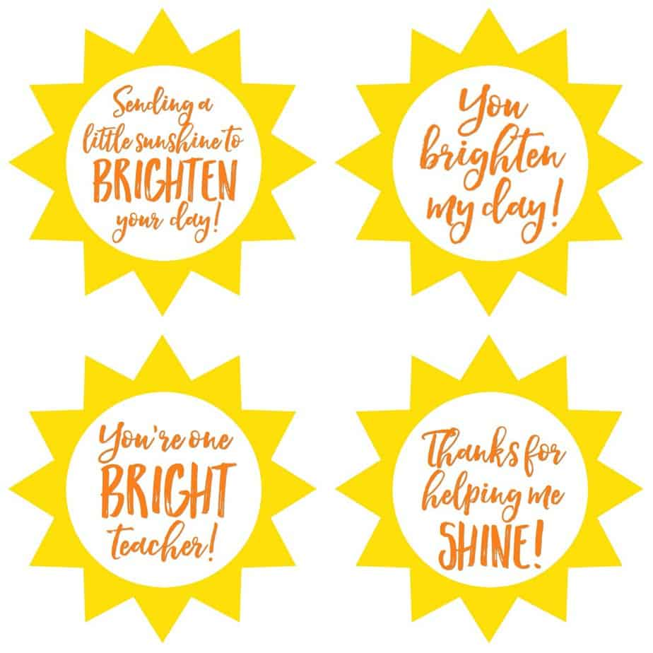 Teacher Jar of Sunshine Gift Tags