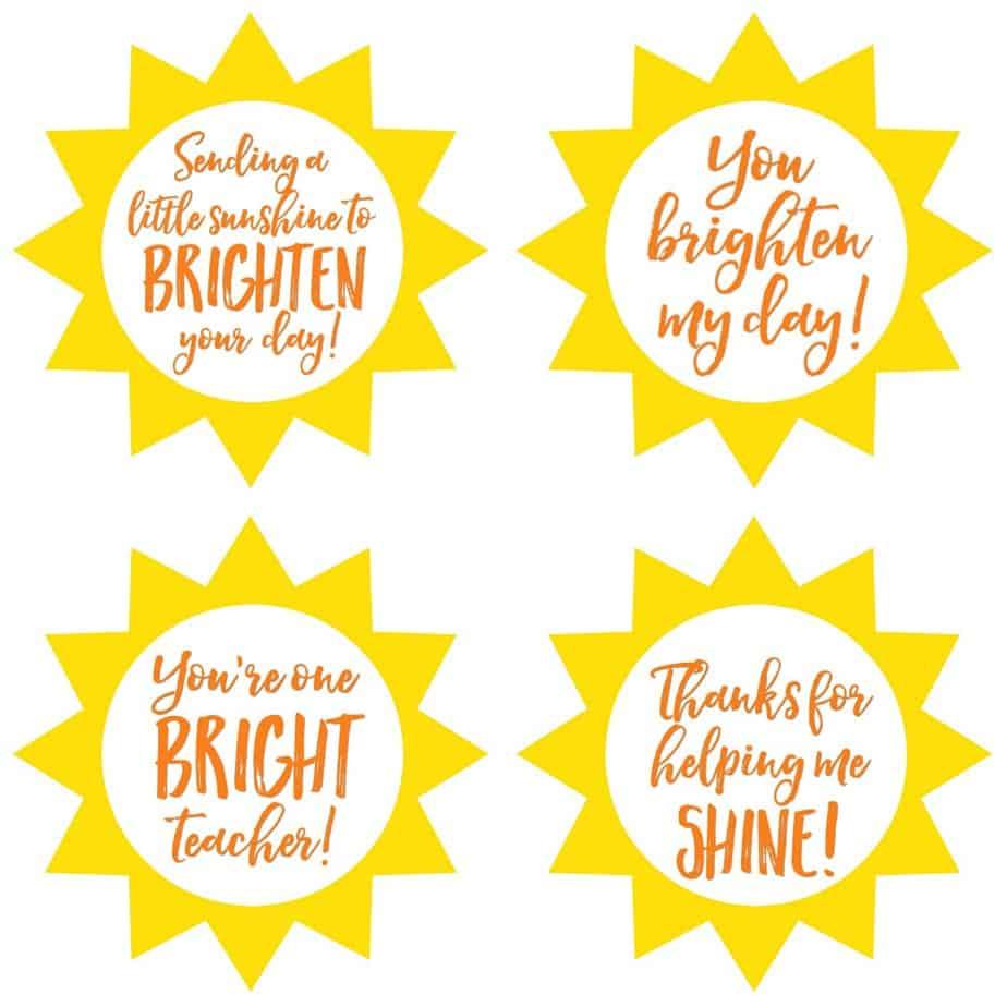 Teacher Jar of Sunshine Gift Tags