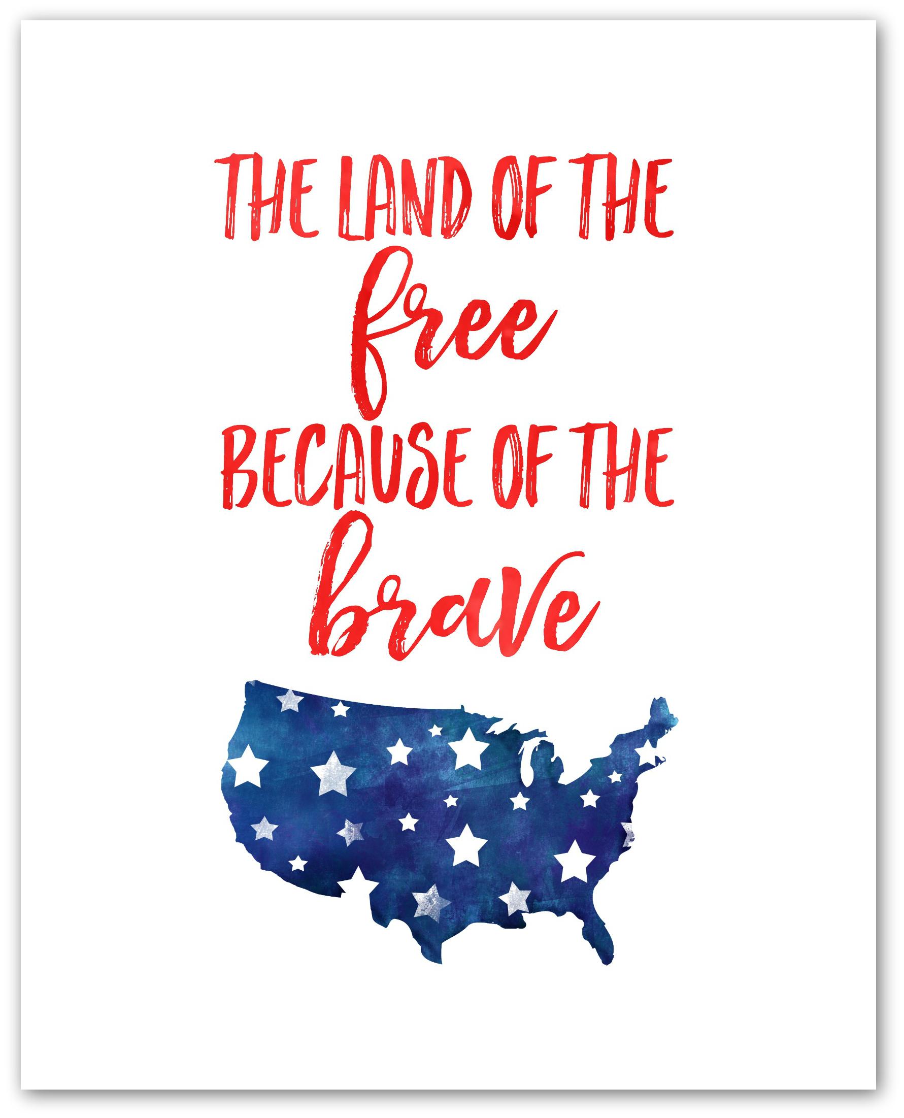 Watercolor Land of the Free 4th of July Printable