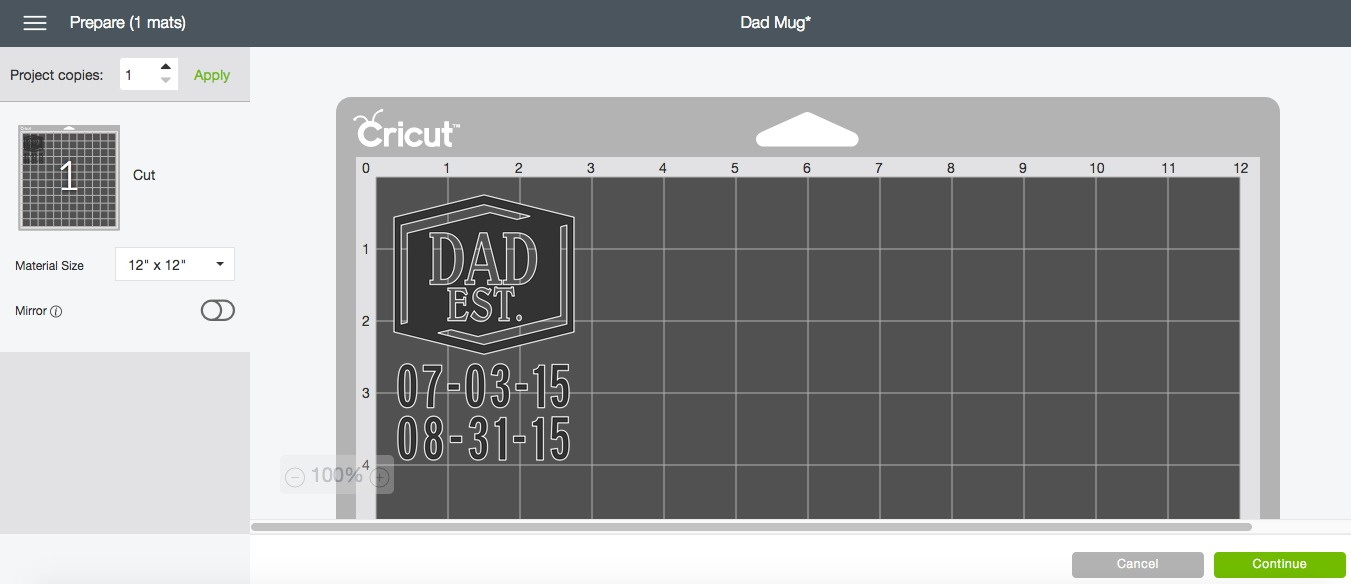 Dad Mug Cricut Design Space